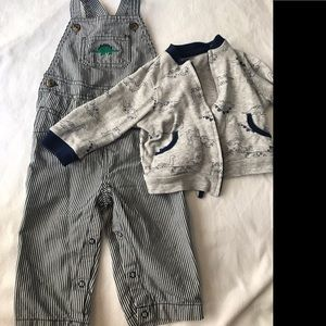 Dinosaur combo. Long overalls and zip up jacket